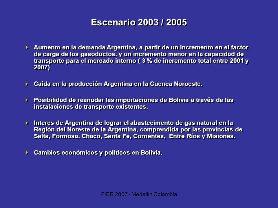 FIER 2007 - Medellín Colombia Escenario 2003 / 2005 Aumento en la demanda Argentina, a partir de un incremento en el factor de carga de los gasoductos
