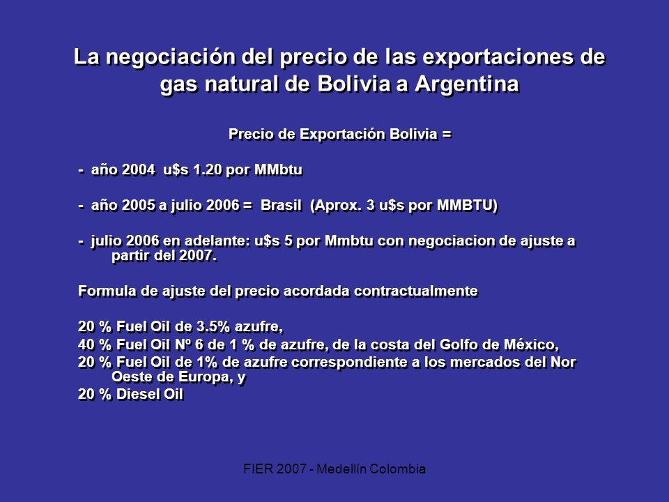 FIER 2007 - Medellín Colombia La negociación del precio de las exportaciones de gas natural de Bolivia a Argentina Precio de Exportación Bolivia = - a