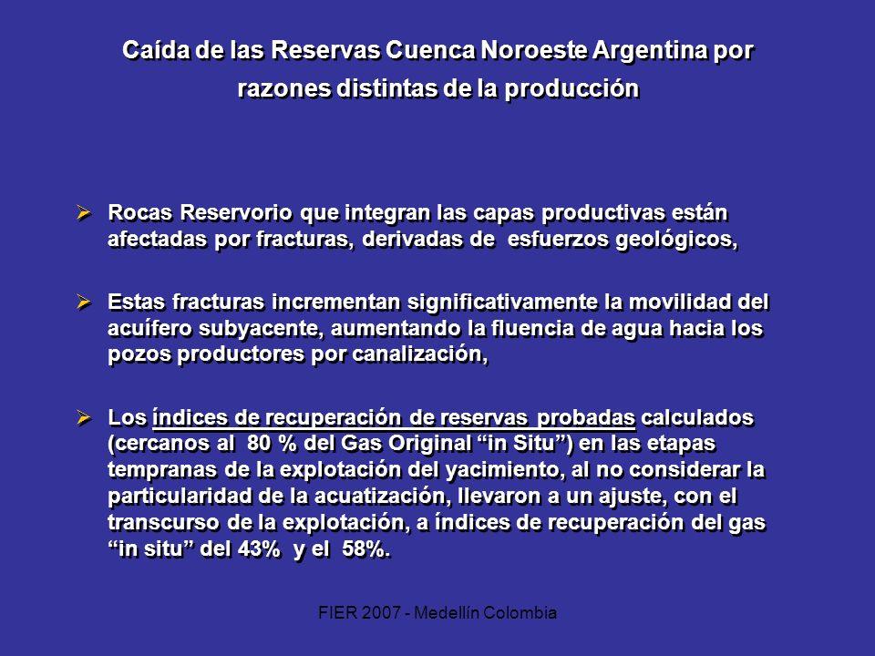 FIER 2007 - Medellín Colombia Caída de las Reservas Cuenca Noroeste Argentina por razones distintas de la producción Rocas Reservorio que integran las