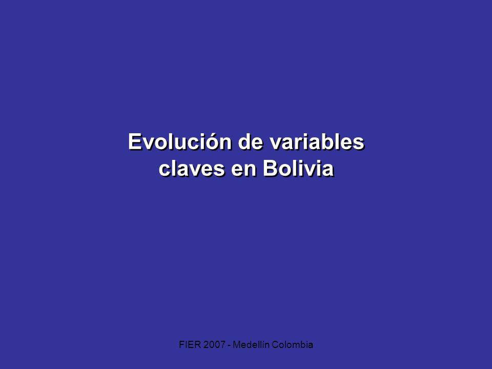 FIER 2007 - Medellín Colombia Evolución de variables claves en Bolivia