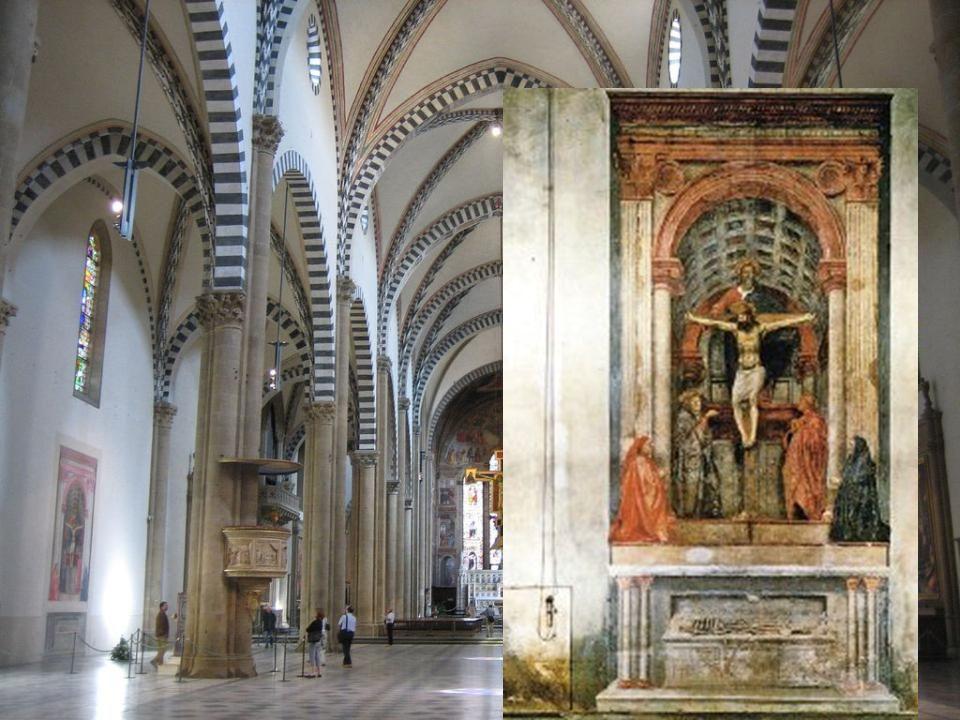 La escena se representa en dos espacios separados por una mesa de altar: En la parte superior se sitúa la Trinidad acompañada de la Virgen y San Juan, precedidos por los donantes.