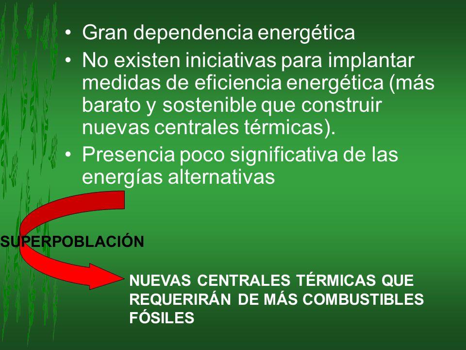 Gran dependencia energética No existen iniciativas para implantar medidas de eficiencia energética (más barato y sostenible que construir nuevas centr