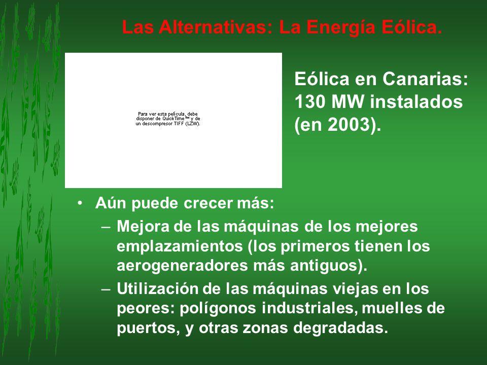 Las Alternativas: La Energía Eólica. Aún puede crecer más: –Mejora de las máquinas de los mejores emplazamientos (los primeros tienen los aerogenerado