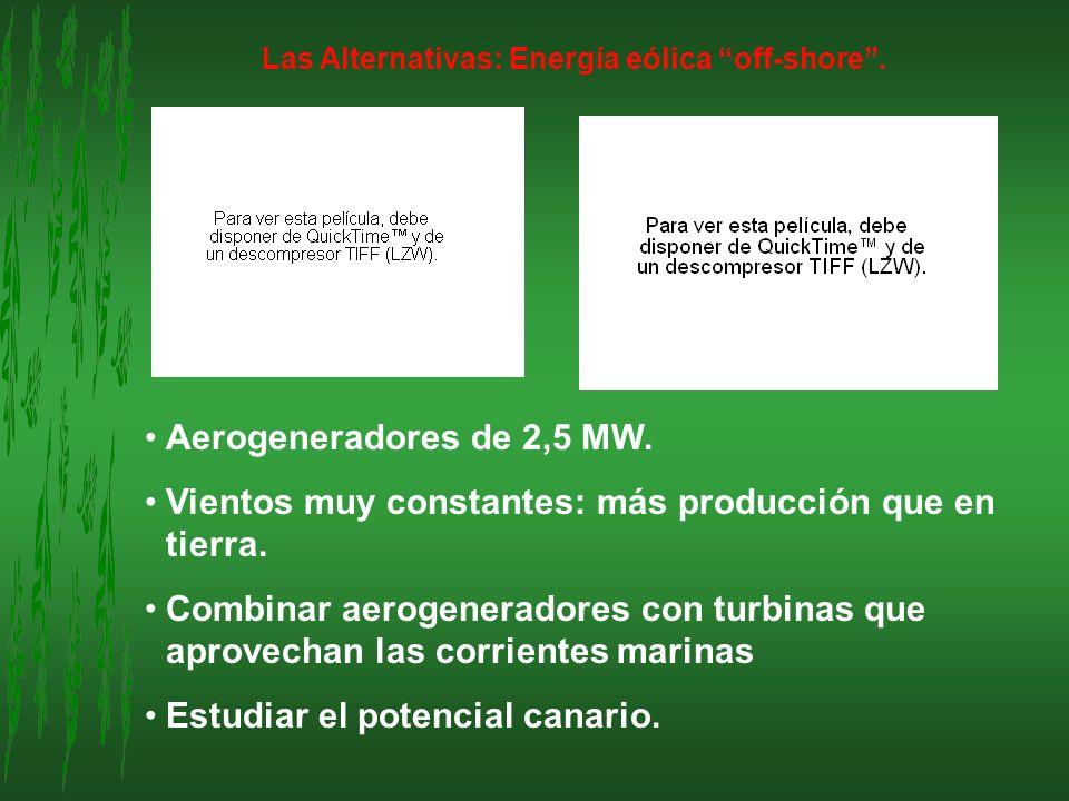 Las Alternativas: Energía eólica off-shore. Aerogeneradores de 2,5 MW. Vientos muy constantes: más producción que en tierra. Combinar aerogeneradores