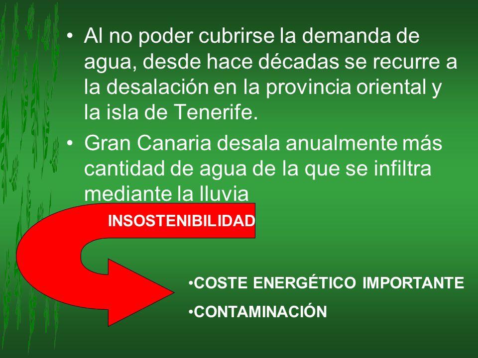 Al no poder cubrirse la demanda de agua, desde hace décadas se recurre a la desalación en la provincia oriental y la isla de Tenerife. Gran Canaria de