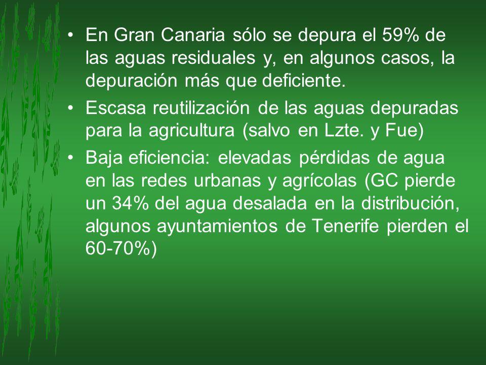 En Gran Canaria sólo se depura el 59% de las aguas residuales y, en algunos casos, la depuración más que deficiente. Escasa reutilización de las aguas