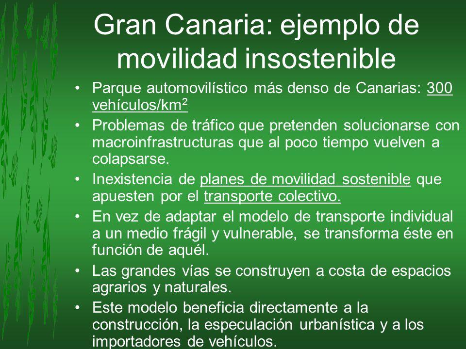 Gran Canaria: ejemplo de movilidad insostenible Parque automovilístico más denso de Canarias: 300 vehículos/km 2 Problemas de tráfico que pretenden so