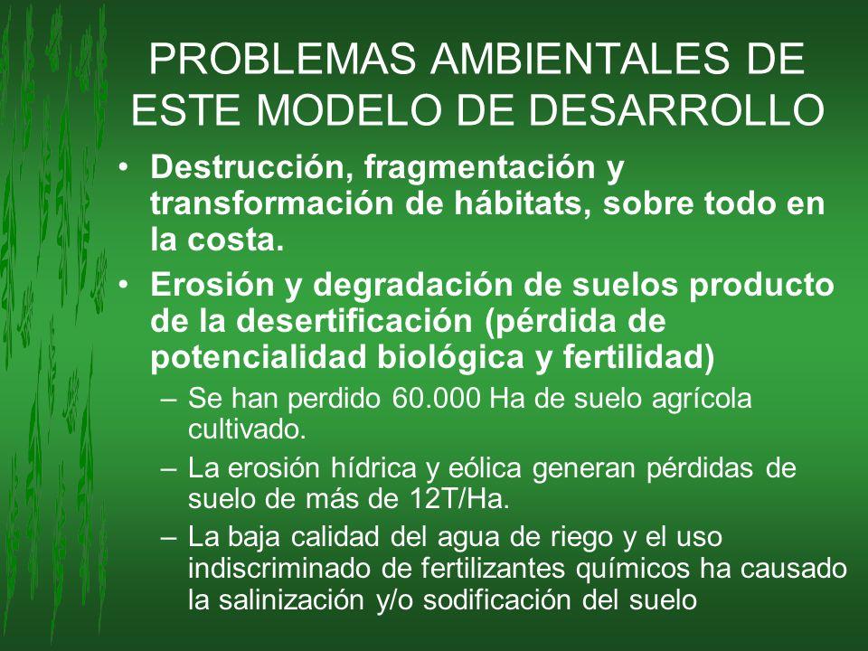 PROBLEMAS AMBIENTALES DE ESTE MODELO DE DESARROLLO Destrucción, fragmentación y transformación de hábitats, sobre todo en la costa. Erosión y degradac