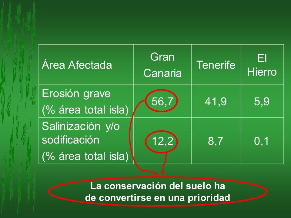 Área Afectada Gran Canaria Tenerife El Hierro Erosión grave (% área total isla) 56,741,95,9 Salinización y/o sodificación (% área total isla) 12,28,70