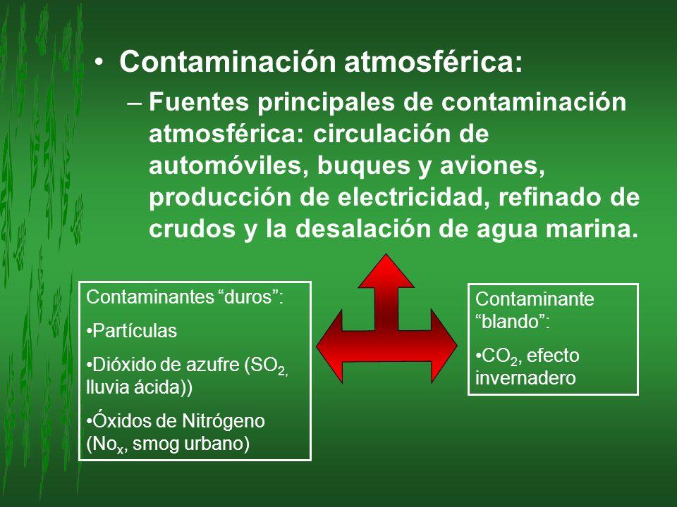 Contaminación atmosférica: –Fuentes principales de contaminación atmosférica: circulación de automóviles, buques y aviones, producción de electricidad