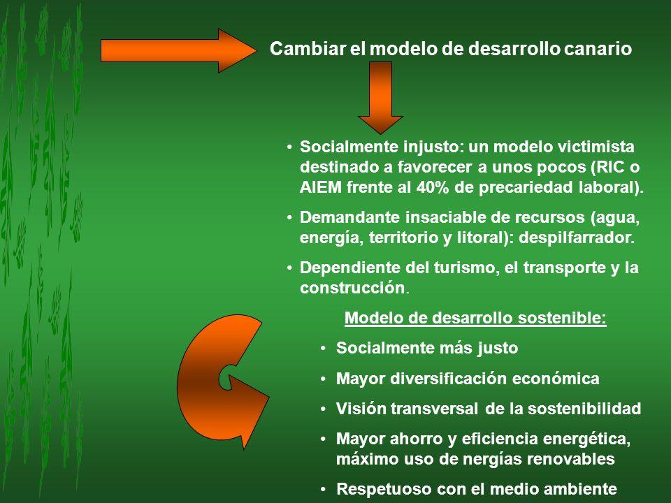 Cambiar el modelo de desarrollo canario Socialmente injusto: un modelo victimista destinado a favorecer a unos pocos (RIC o AIEM frente al 40% de prec