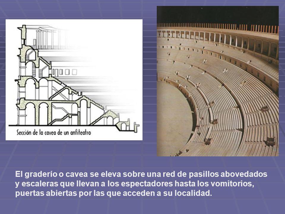 El graderío o cavea se eleva sobre una red de pasillos abovedados y escaleras que llevan a los espectadores hasta los vomitorios, puertas abiertas por