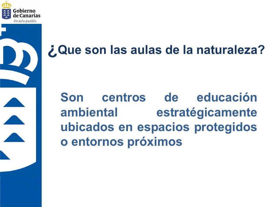 Un solo pueblo ¿ Que son las aulas de la naturaleza? Son centros de educación ambiental estratégicamente ubicados en espacios protegidos o entornos pr