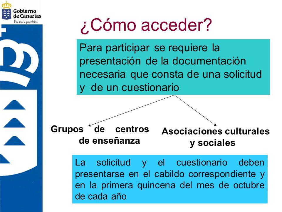 Un solo pueblo ¿Cómo acceder? Para participar se requiere la presentación de la documentación necesaria que consta de una solicitud y de un cuestionar