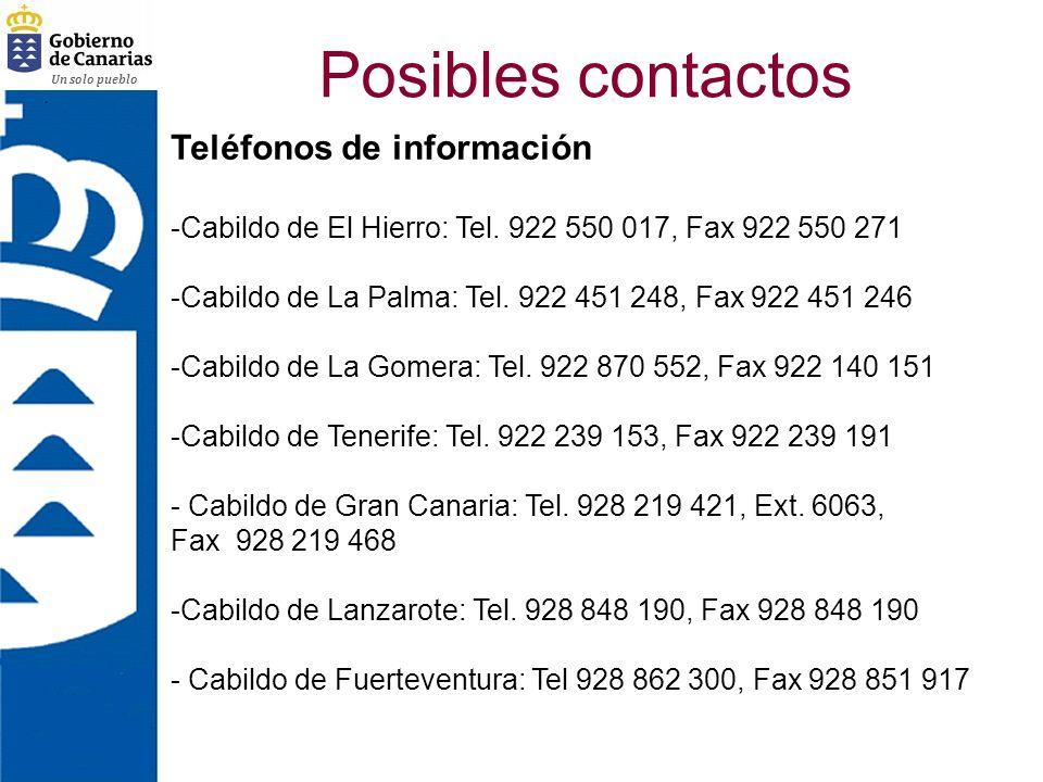 Un solo pueblo Posibles contactos Teléfonos de información -Cabildo de El Hierro: Tel. 922 550 017, Fax 922 550 271 -Cabildo de La Palma: Tel. 922 451