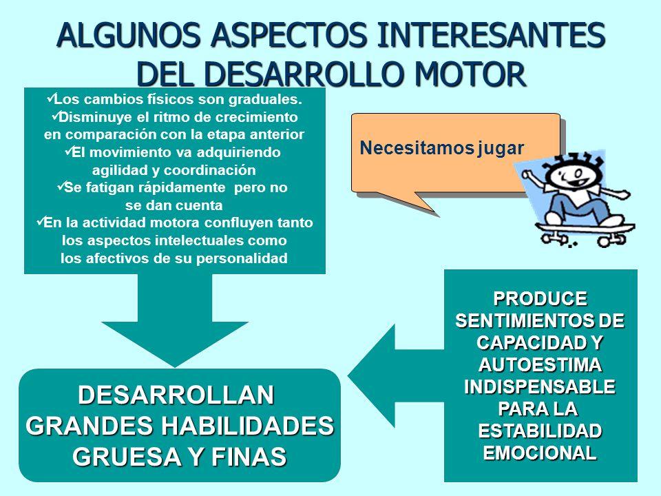 ALGUNOS ASPECTOS INTERESANTES DEL DESARROLLO MOTOR DESARROLLAN GRANDES HABILIDADES GRUESA Y FINAS PRODUCE SENTIMIENTOS DE CAPACIDAD Y AUTOESTIMAINDISP