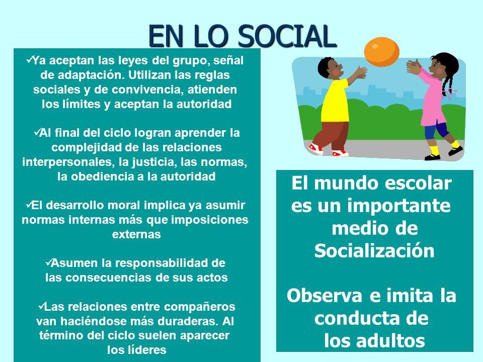 EN LO SOCIAL Ya aceptan las leyes del grupo, señal de adaptación. Utilizan las reglas sociales y de convivencia, atienden los límites y aceptan la aut