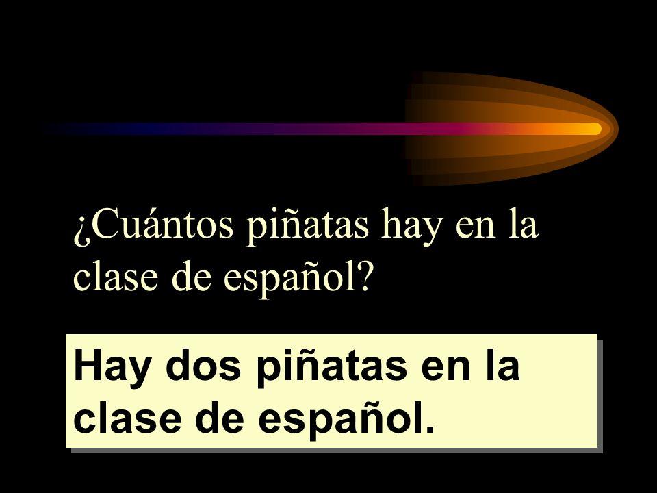 ¿Cuántos piñatas hay en la clase de español? Hay dos piñatas en la clase de español.