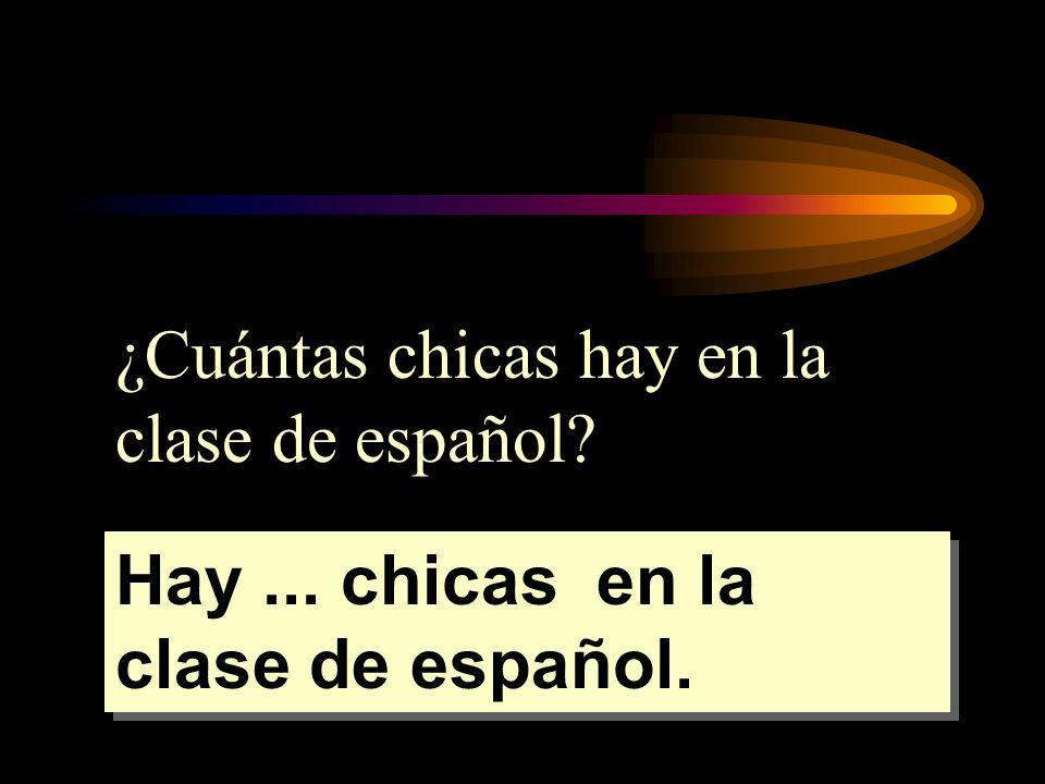 ¿Cuántas chicas hay en la clase de español? Hay... chicas en la clase de español.
