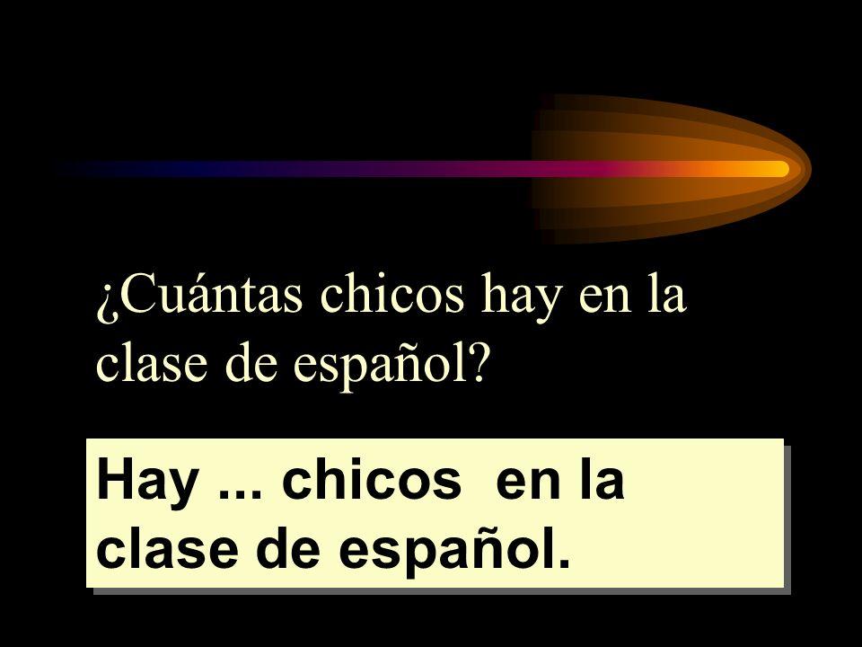 ¿Cuántas chicos hay en la clase de español? Hay... chicos en la clase de español.