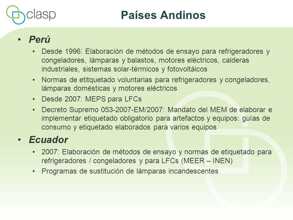 Países Andinos Perú Desde 1996: Elaboración de métodos de ensayo para refrigeradores y congeladores, lámparas y balastos, motores eléctricos, calderas