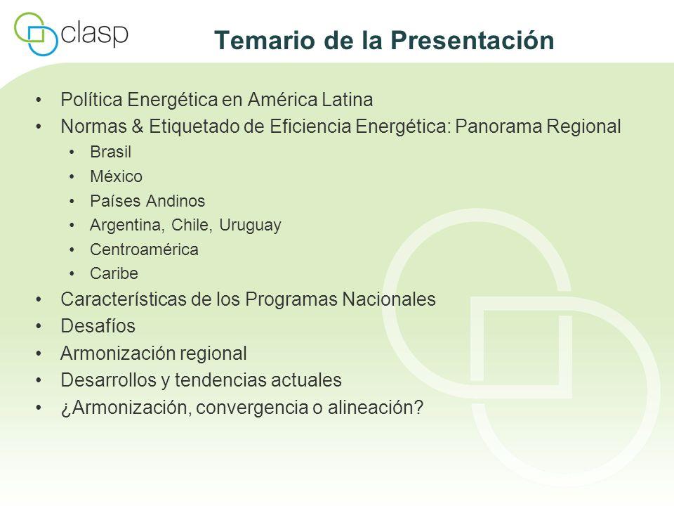 Países Andinos Colombia Desde 2001: Programa CONOCE UPME y ICONTEC han elaborado métodos de ensayo y normas de etiquetado para aproximadamente 30 tipos de artefactos y equipos, incluso: Refrigeradores y congeladores, acondicionadores de aire, calentadores de agua eléctricos, lavadoras de ropa, varios artefactos domésticos de gas, iluminación, motores eléctricos El etiquetado es todavía voluntario (junio de 2009) Venezuela 1996: Métodos de ensayo y normas de etiquetado para refrigeradores / congeladores y acondicionadores de aire Norma COVENIN 3235:1999: Etiquetado obligatorio de refrigeradores y congeladores 2006: Misión Revolución Energética Programas de sustitución masiva de lámparas incandescentes Elaboración de normas de eficiencia energética