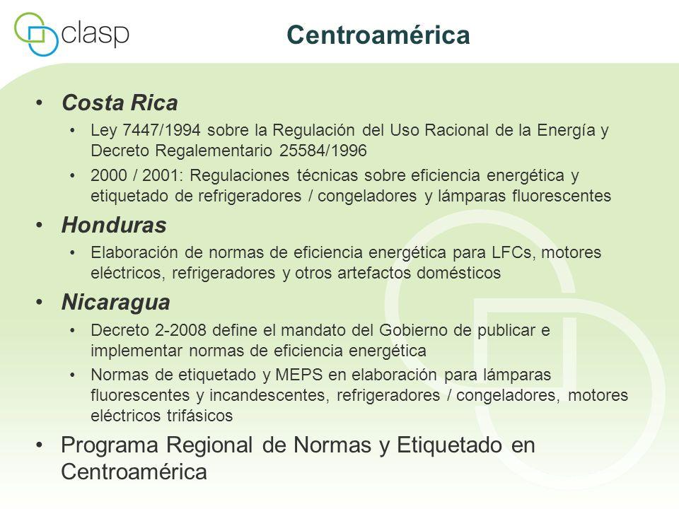 Centroamérica Costa Rica Ley 7447/1994 sobre la Regulación del Uso Racional de la Energía y Decreto Regalementario 25584/1996 2000 / 2001: Regulacione