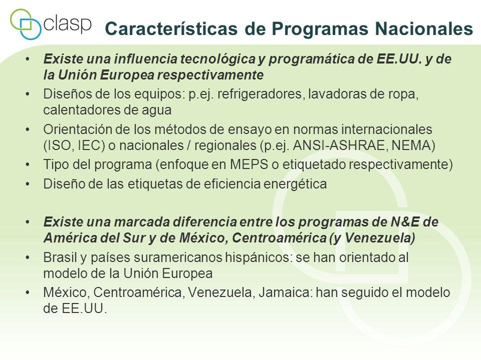 Características de Programas Nacionales Existe una influencia tecnológica y programática de EE.UU. y de la Unión Europea respectivamente Diseños de lo