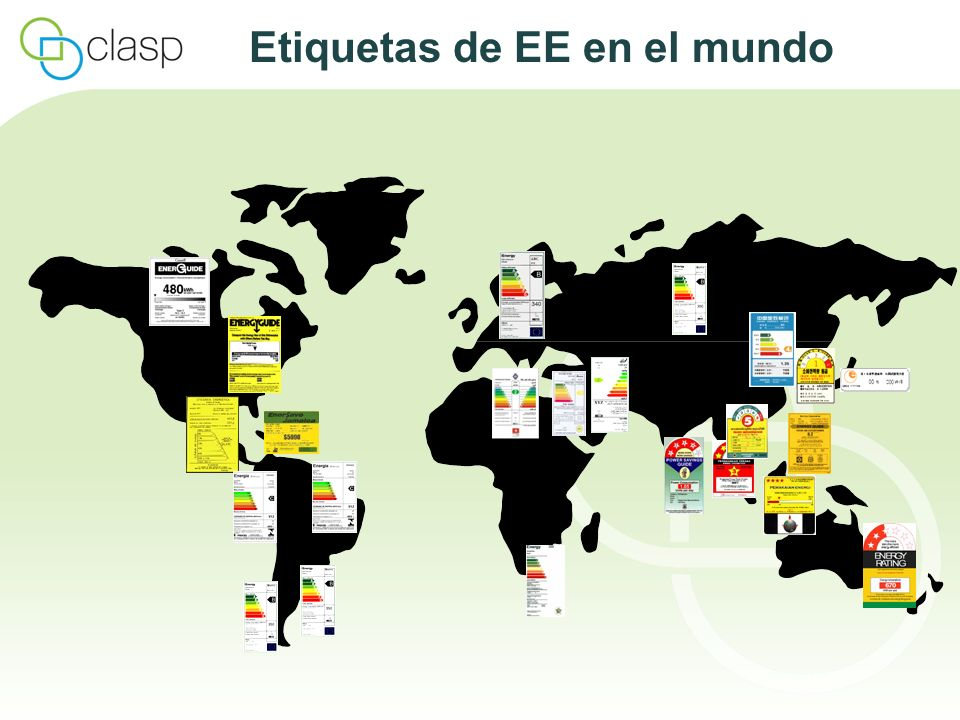 Etiquetas de EE en el mundo