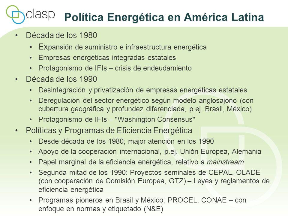 Países Andinos Perú Desde 1996: Elaboración de métodos de ensayo para refrigeradores y congeladores, lámparas y balastos, motores eléctricos, calderas industriales, sistemas solar-térmicos y fotovoltáicos Normas de etitquetado voluntarias para refrigeradores y congeladores, lámparas domésticas y motores eléctricos Desde 2007: MEPS para LFCs Decreto Supremo 053-2007-EM/2007: Mandato del MEM de elaborar e implementar etiquetado obligatorio para artefactos y equipos: guías de consumo y etiquetado elaborados para varios equipos Ecuador 2007: Elaboración de métodos de ensayo y normas de etiquetado para refrigeradores / congeladores y para LFCs (MEER – INEN) Programas de sustitución de lámparas incandescentes