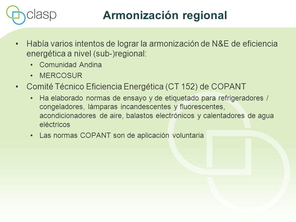 Armonización regional Había varios intentos de lograr la armonización de N&E de eficiencia energética a nivel (sub-)regional: Comunidad Andina MERCOSU