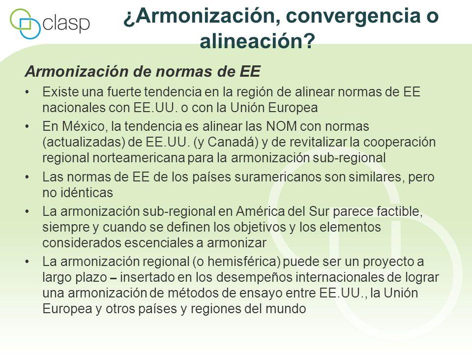 ¿Armonización, convergencia o alineación? Armonización de normas de EE Existe una fuerte tendencia en la región de alinear normas de EE nacionales con