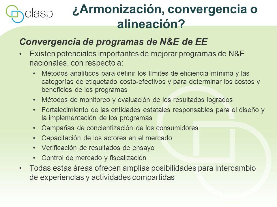 ¿Armonización, convergencia o alineación? Convergencia de programas de N&E de EE Existen potenciales importantes de mejorar programas de N&E nacionale
