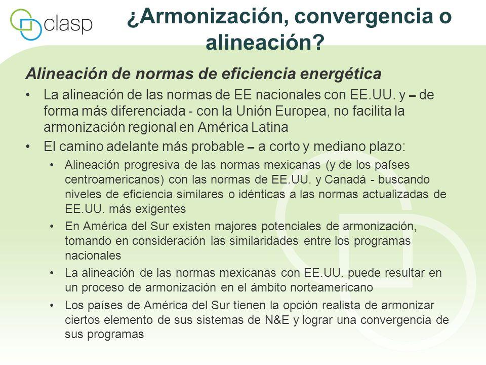 ¿Armonización, convergencia o alineación? Alineación de normas de eficiencia energética La alineación de las normas de EE nacionales con EE.UU. y – de