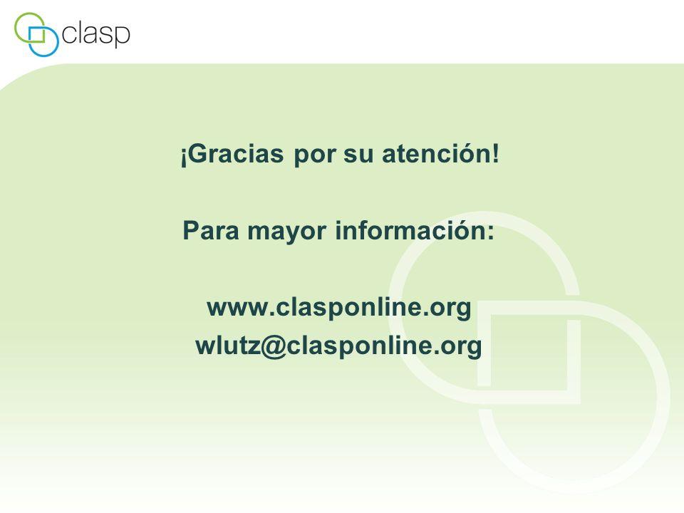 ¡Gracias por su atención! Para mayor información: www.clasponline.org wlutz@clasponline.org