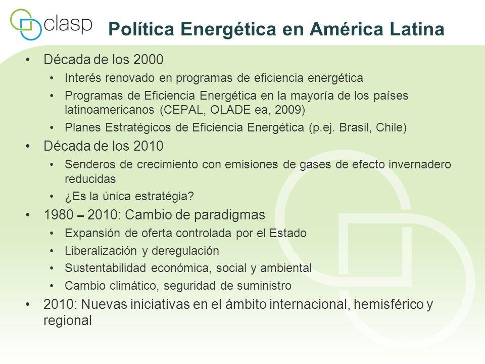 Argentina 1996 – 1999: Programa de Calidad de Artefactos Energéticos para el Hogar (PROCAEH) Normas de ensayo y de etiquetado para refrigeradores y congeladores Resolución 319/99: mandato del Gobierno de implementar normas de etiquetado para amplia gama de productos 2003: (Re-)iniciación del Programa de Normas y Etiquetado Elaboración e implementación de normas de etiquetado obligatorio para: refrigeradores y congeladores, lámparas incandescentes y fluorescentes, acondicionadores de aire, motores eléctricos trifásicos, lavadoras de ropa Prohibición de comercialización de lámparas incandescentes a partir de 2011 Acuerdo para eliminar refrigeradores y congeladores de baja eficiencia MEPS para operación en modo de espera de equipos electrónicos considerados Normas de EE para artefactos a gas en elaboración (cooperación de CLASP)