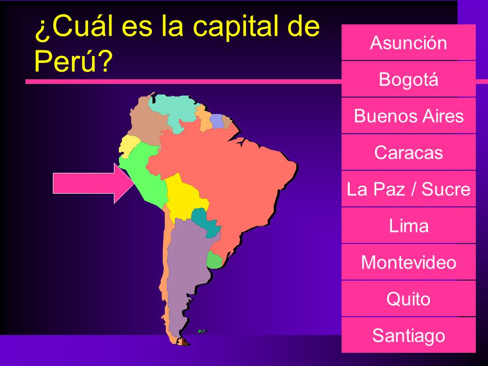 ¿Cuál es la capital de Perú? Asunción Bogotá Buenos Aires Caracas La Paz / Sucre Lima Montevideo Quito Santiago