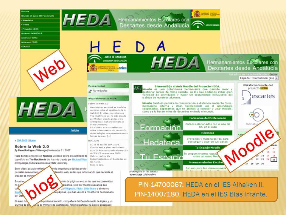 PIN-14700067. HEDA en el IES Alhaken II. PIN-14007180. HEDA en el IES Blas Infante. Web Moodle blog