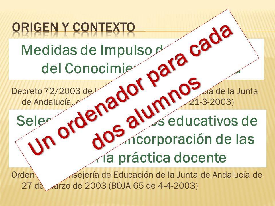 Medidas de Impulso de la Sociedad del Conocimiento en Andalucía Orden de la Consejería de Educación de la Junta de Andalucía de 27 de Marzo de 2003 (BOJA 65 de 4-4-2003) Decreto 72/2003 de la Consejería de la Presidencia de la Junta de Andalucía, de 18 de marzo (BOJA 65 de 21-3-2003) Selección de proyectos educativos de centro para la incorporación de las TIC en la práctica docente Un ordenador para cada dos alumnos
