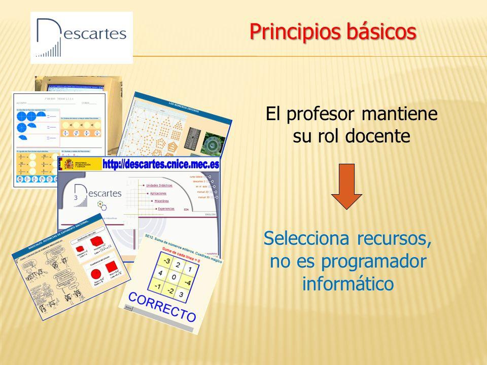 El profesor mantiene su rol docente Selecciona recursos, no es programador informático Principios básicos