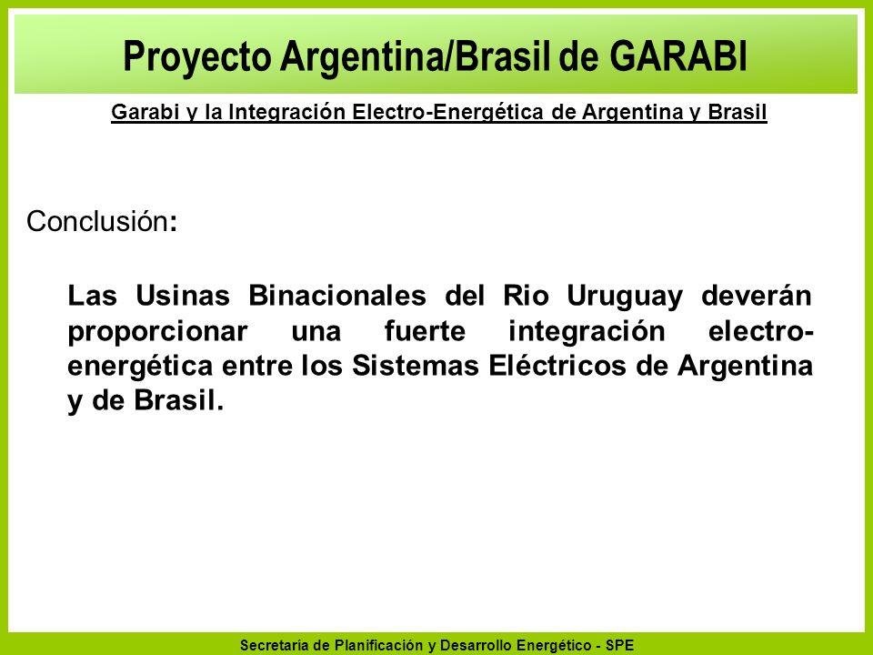 Secretaría de Planificación y Desarrollo Energético - SPE Proyecto Argentina/Brasil de GARABI Garabi y la Integración Electro-Energética de Argentina