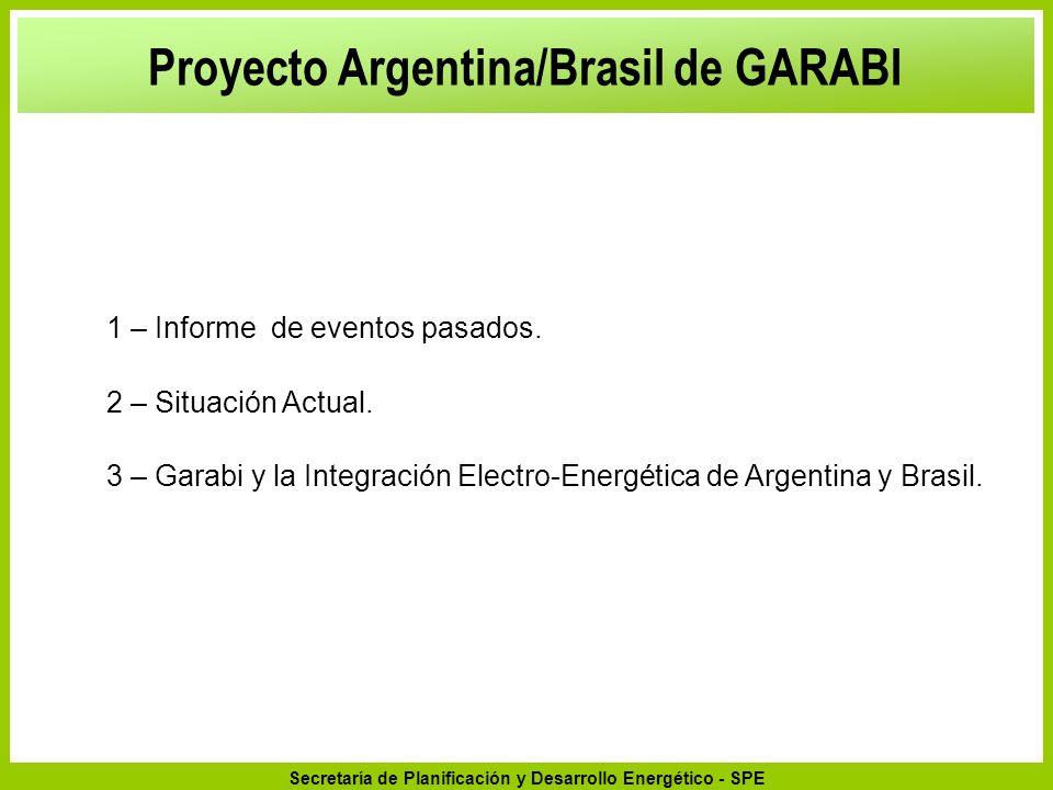 Secretaría de Planificación y Desarrollo Energético - SPE 1 – Informe de eventos pasados. 2 – Situación Actual. 3 – Garabi y la Integración Electro-En