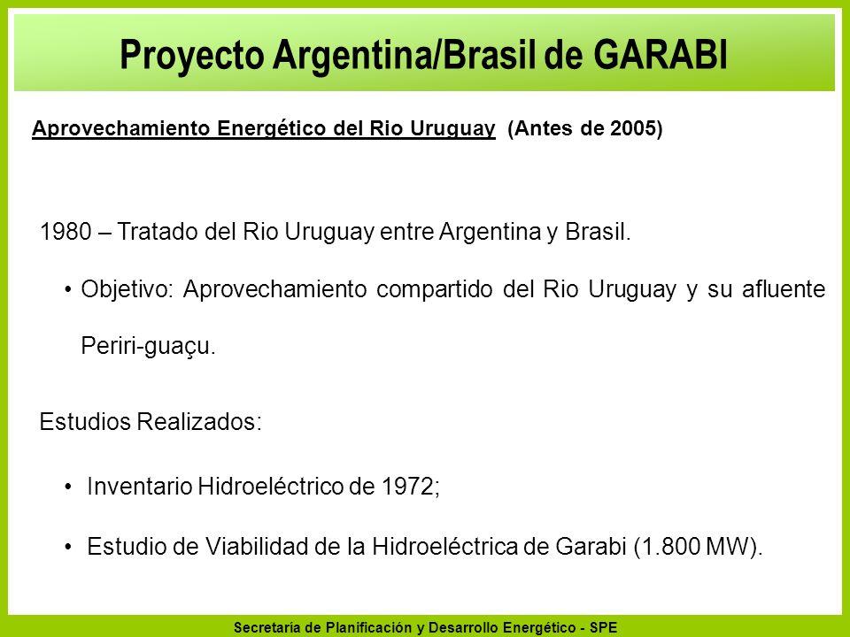Secretaría de Planificación y Desarrollo Energético - SPE 2.2Suministro Adicional a Brasil: 2.2.1En los Períodos Punta – Demanda Máxima (aumento de confiabilidad y reserva de suministro de punta); 2.2.2En los Períodos de Costos Marginales de Operación elevados (situaciones de baja hidrología – desequilíbrios conyunturales en el balance de energía del sistema generador hidroeléctrico) 2.2.3En condiciones excepcionales para elevar el almacenamiento de las represas (suministro de energía) Garabi y la Integración Electro-Energética de Argentina y Brasil Comercialización de la Energía e Integración Eléctrica-Energética de Argentina y Brasil: Proyecto Argentina/Brasil de GARABI