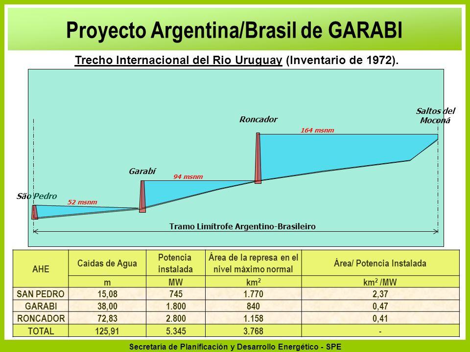 Secretaría de Planificación y Desarrollo Energético - SPE São Pedro Tramo Limítrofe Argentino-Brasileiro Garabí Roncador 94 msnm 164 msnm 52 msnm Salt