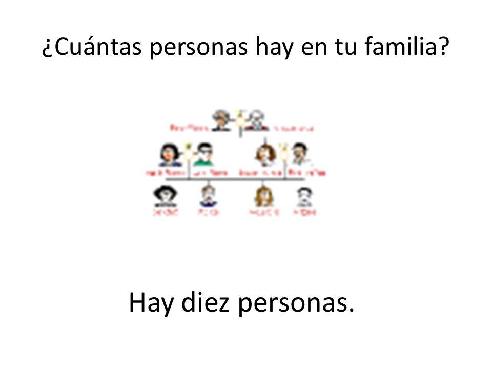¿Cuántas personas hay en tu familia? Hay diez personas.