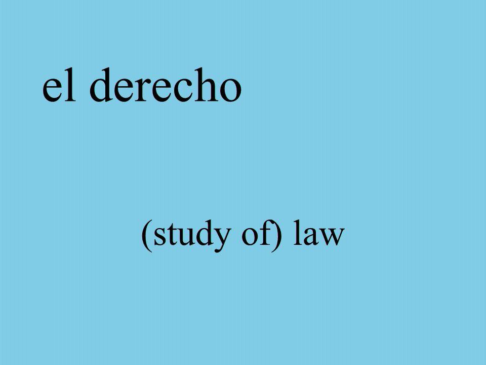 el derecho (study of) law