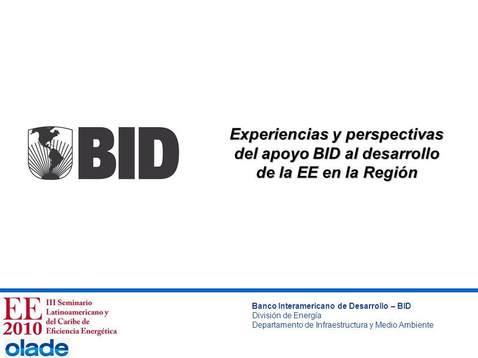Experiencias y perspectivas del apoyo BID al desarrollo de la EE en la Región Banco Interamericano de Desarrollo – BID División de Energía Departament
