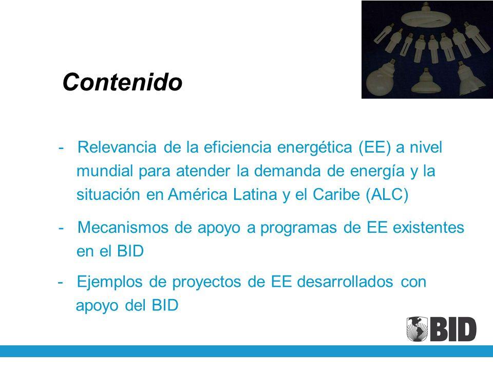 Según IEA (AIE): - Consumo energético en 11 países miembros AIE evaluados estaría 58% más elevado hoy sin las medidas de EE implementadas desde 1973 Relevancia de la EE a nivel mundial - A nivel global, tecnologías existentes hoy podrían disminuir el consumo energético en la industria entre 18 y 26% y en la generación eléctrica entre 23 y 32%.
