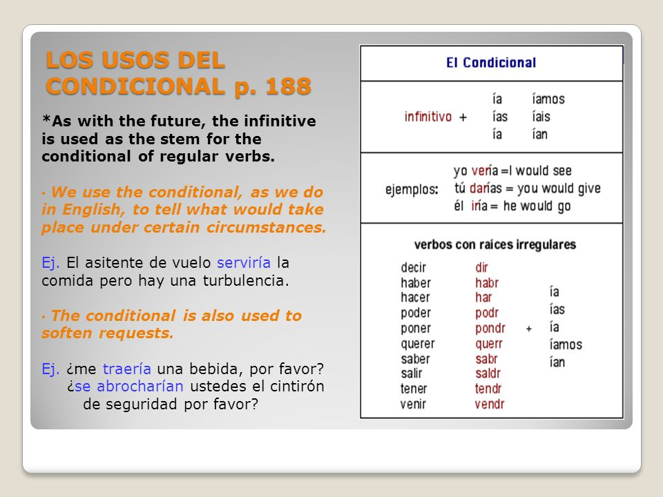 LOS USOS DEL CONDICIONAL p. 188 *As with the future, the infinitive is used as the stem for the conditional of regular verbs. We use the conditional,