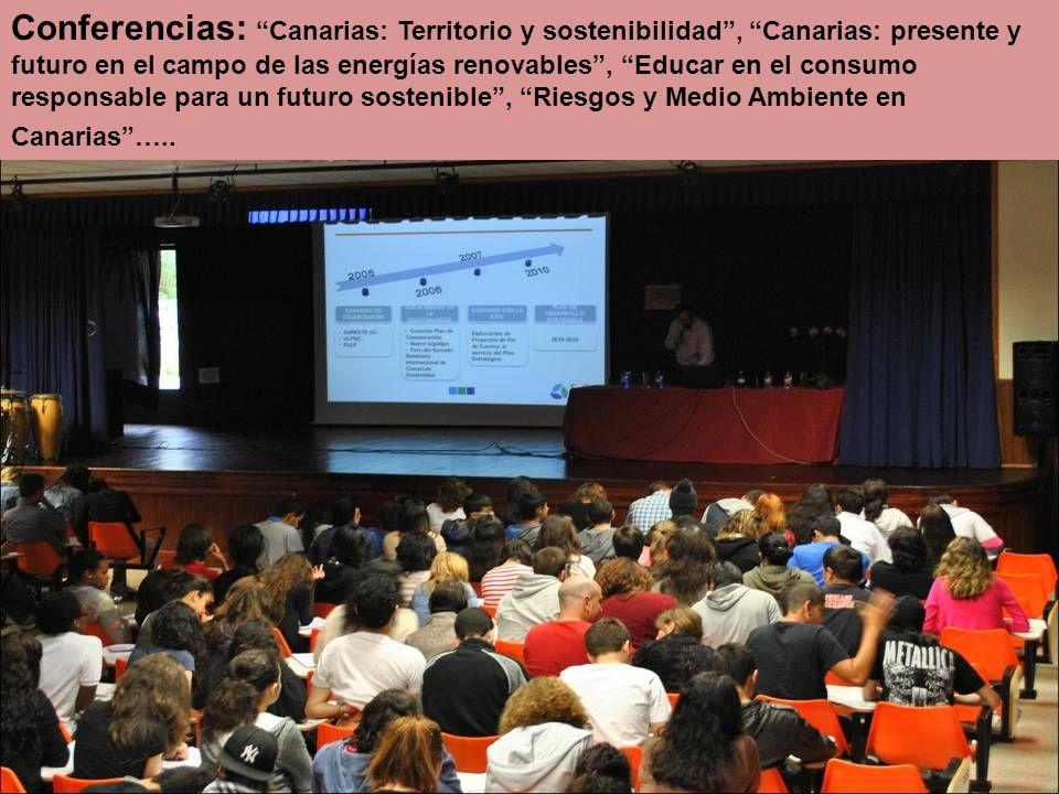 Conferencias: Canarias: Territorio y sostenibilidad, Canarias: presente y futuro en el campo de las energías renovables, Educar en el consumo responsable para un futuro sostenible, Riesgos y Medio Ambiente en Canarias…..